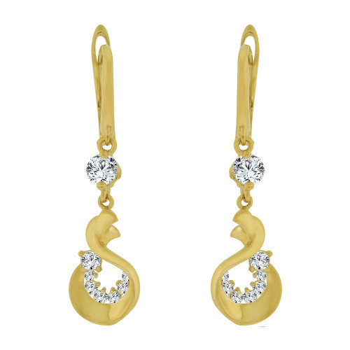 14k Yellow Gold, Abstract Dangling Drop Earring Created CZ Crystals (E014-036)