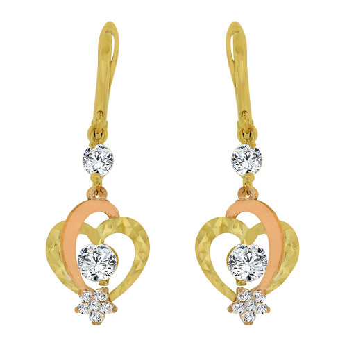14k Yellow & Rose Gold, Heart Dangling Drop Earring Created CZ Crystals (E014-037)