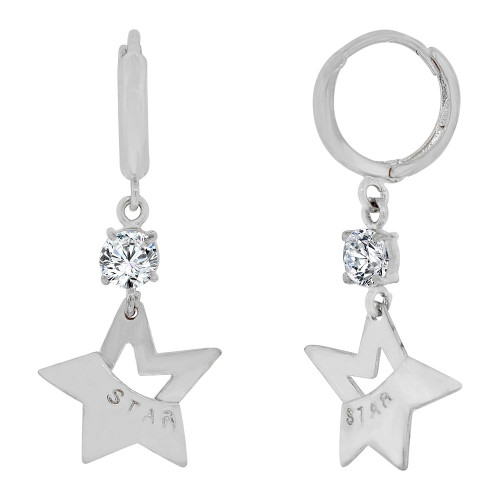 14k Gold White Rhodium, Modern Star Dangling Earring Created CZ Crystals (E014-071)