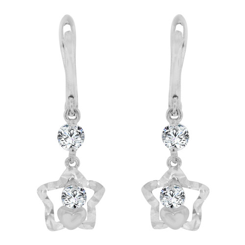 14k Gold White Rhodium, Star & Heart Drop Earring Created CZ Crystals (E014-080)