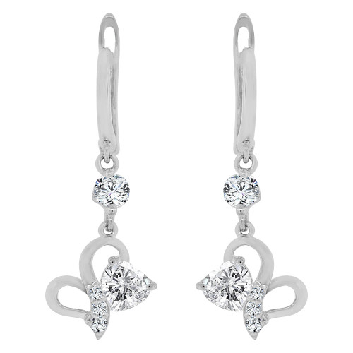 14k Gold White Rhodium, Small Heart Dangling Drop Earring Created CZ Crystals (E014-081)