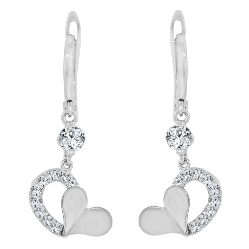 14k Gold White Rhodium, Heart Dangling Drop Earring Created CZ Crystals (E014-082)