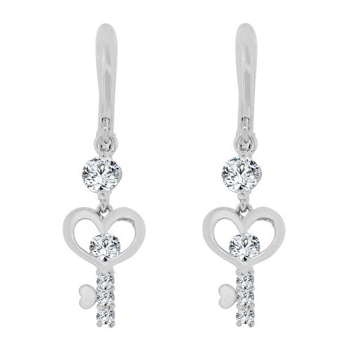 14k Gold White Rhodium, Small Heart Key Dangling Drop Earring Created CZ Crystals (E014-083)