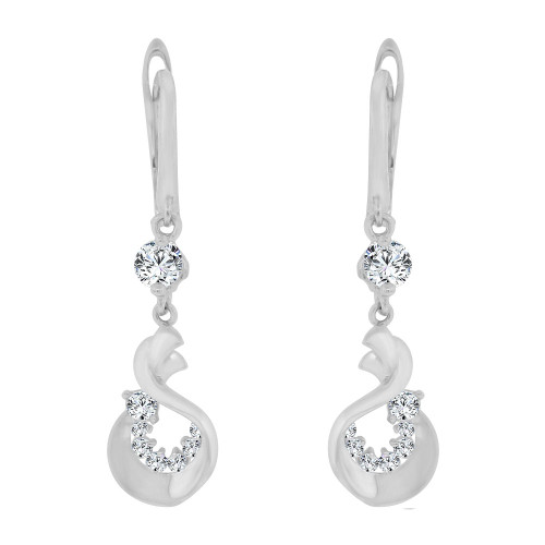 14k Gold White Rhodium, Abstract Dangling Drop Earring Created CZ Crystals (E014-086)