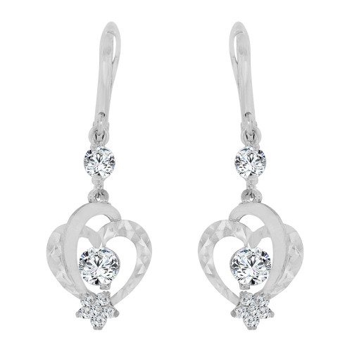 14k Gold White Rhodium, Heart Dangling Drop Earring Created CZ Crystals (E014-087)