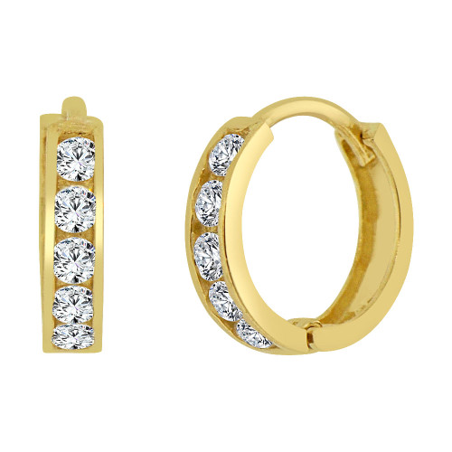 14k Yellow Gold, Mini Hoop Huggies Stud Earring Created CZ Crystals 11mm Outer Diameter (E013-001)