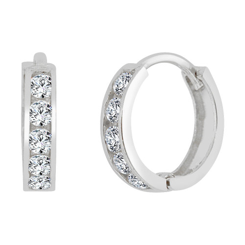 14k Gold White Rhodium, Mini Hoop Huggies Stud Earring Created CZ Crystals 10mm Outer Diameter (E013-051)