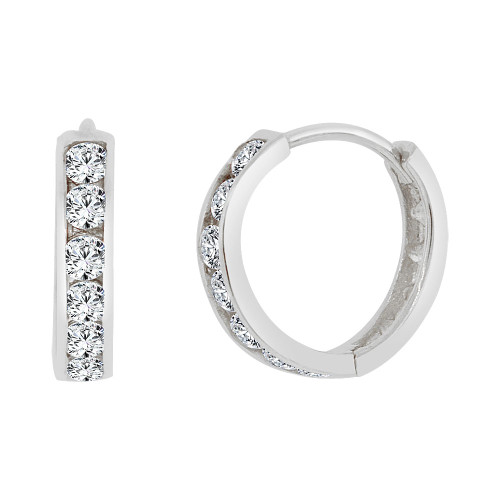 14k Gold White Rhodium, Mini Hoop Huggies Stud Earring Created CZ Crystals 12mm Outer Diameter (E013-052)