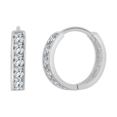 14k Gold White Rhodium, Small Hoop Huggies Stud Earring Created CZ Crystals 13mm Outer Diameter (E013-053)
