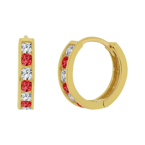 14k Yellow Gold, Mini Hoop Huggies Stud Earring Created Red White CZ Crystals 12mm Outer Diameter (E013-207)