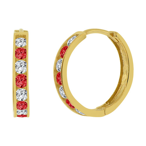 14k Yellow Gold, Small Hoop Huggies Stud Earring Created Red White CZ Crystals 15mm Outer Diameter (E013-407)
