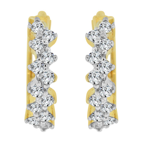 14k Yellow Gold, Mini Hoop Stud Earring Created CZ Crystals (E015-011)