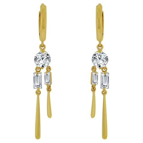 14k Yellow Gold, Dangling Earring Created CZ Crystals (E015-016)
