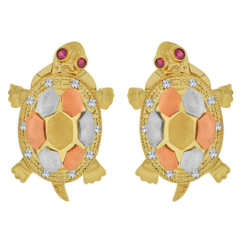 14k Tricolor Gold, Mystical Tortoise Turtle Earring Created CZ Crystals (E015-024)