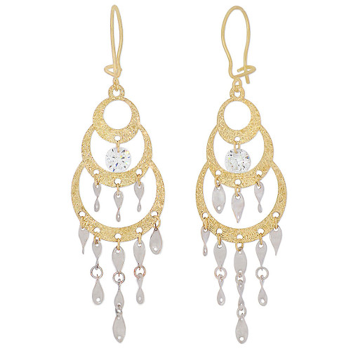 14k Yellow & White Gold, Fancy Chandelier Design Dangling Drop Earring Created CZ Crystals (E015-031)