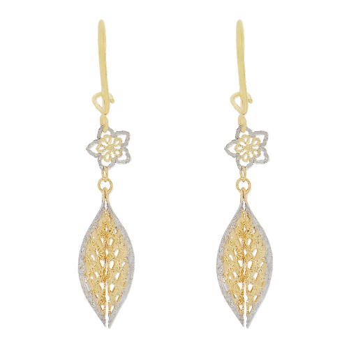 14k Yellow Gold White Rhodium, Flower Leaf Dangling Earring Sparkly Diacut (E015-038)