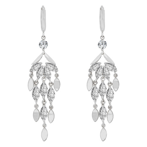 14k Gold White Rhodium, Fancy Chandelier Dangling Drop Earring Created CZ Crystals (E015-051)