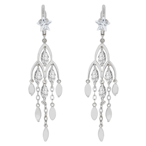 14k Gold White Rhodium, Fancy Chandelier Dangling Drop Earring Created CZ Crystals (E015-054)