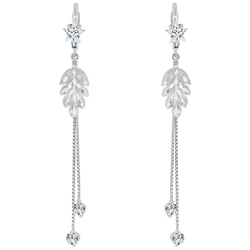 14k Gold White Rhodium, Fancy Leaf Dangling Earring Created CZ Crystals (E015-055)