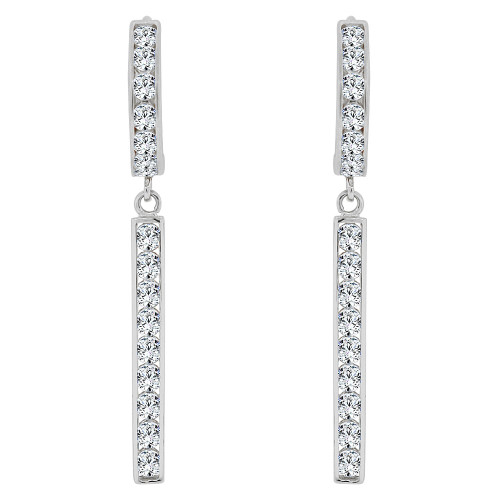14k Gold White Rhodium, Modern Geometric Drop Earring Created CZ Crystals (E015-057)