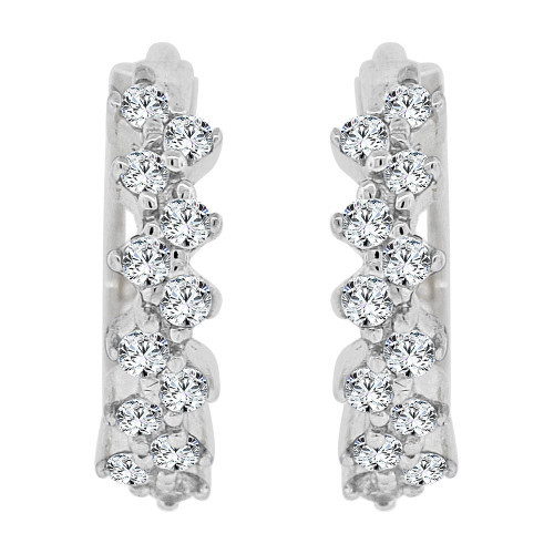 14k Gold White Rhodium, Mini Hoop Stud Earring Created CZ Crystals (E015-061)