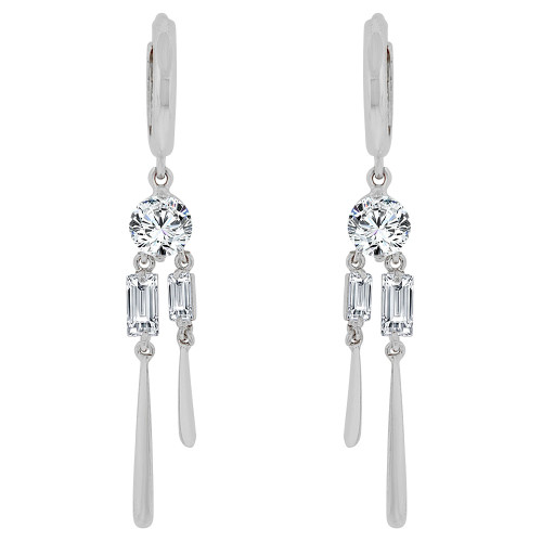 14k Gold White Rhodium, Dangling Earring Created CZ Crystals (E015-066)