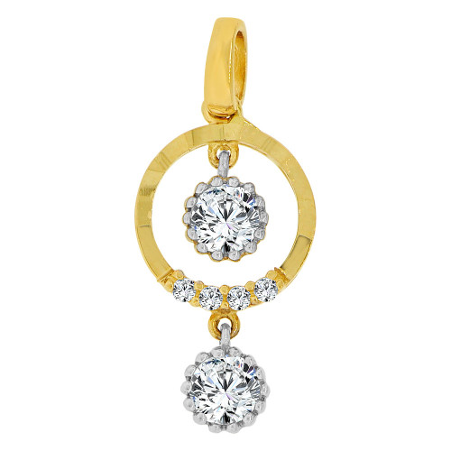 14k Yellow Gold, Dangling Circle of Life Pendant Charm Created CZ  (P060-005)