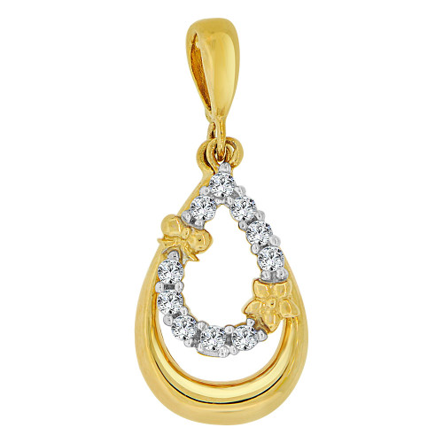14k Yellow Gold White Rhodium, Small Pear Shape Pendant Charm Created CZ Crystals (P060-006)