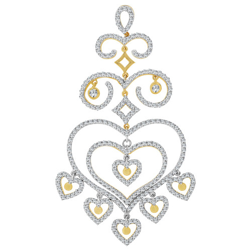 14k Yellow Gold White Rhodium, Dangling Multi Heart Pendant Charm Created CZ Crystals (P060-011)