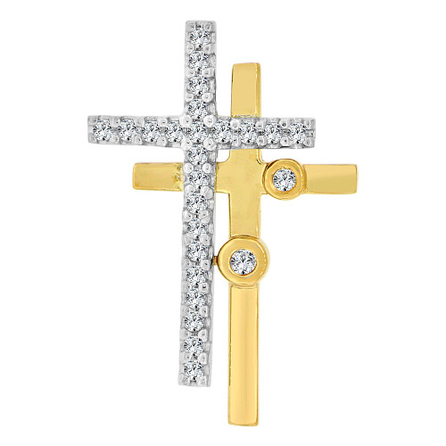 14k Yellow Gold White Rhodium, Double Crosses Pendant Charm Created CZ Crystals (P060-015)