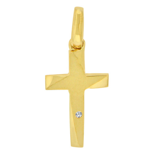 14k Yellow Gold, Mini Size Religious Cross Charm Created CZ Crystal (P060-016)