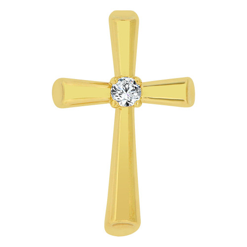 14k Yellow Gold, Small Religious Cross Charm Created CZ Crystal (P060-017)