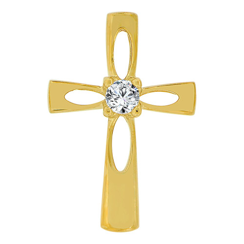 14k Yellow Gold, Small Religious Cross Charm Created CZ Crystal (P060-018)