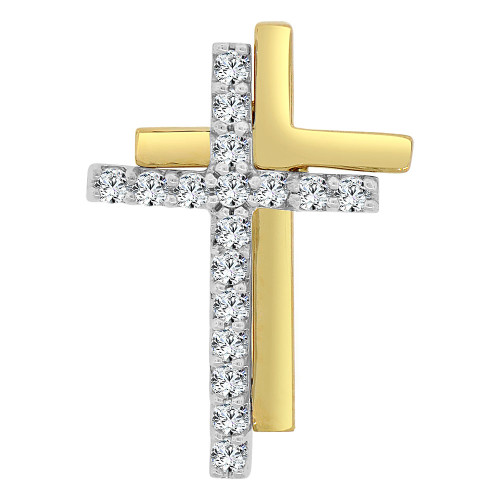 14k Yellow Gold White Rhodium, Small Religious Double Cross Charm Created CZ Crystals (P060-019)