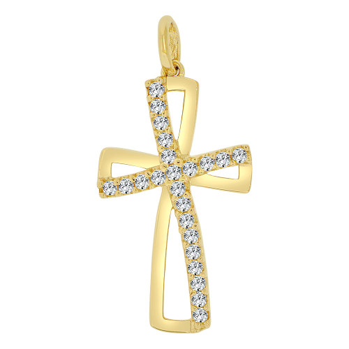 14k Yellow Gold, Fancy Religious Cross Pendant Charm Created CZ Crystals (P060-020)