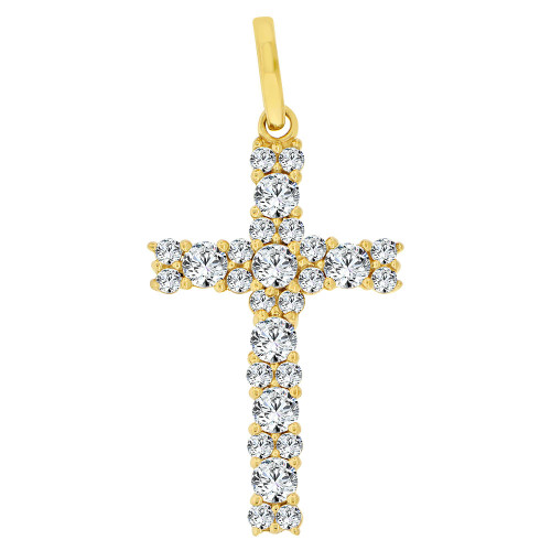 14k Yellow Gold, Classic Religious Cross Pendant Charm Created CZ Crystals (P060-022)