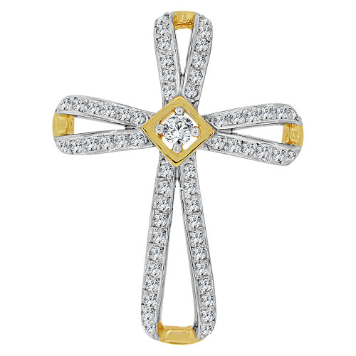14k Yellow Gold, Fancy Religious Cross Pendant Charm Created CZ Crystals (P060-024)