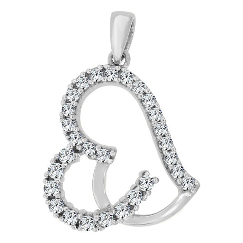 14k Gold White Rhodium, Abstract Heart Pendant Charm Created CZ Crystals (P060-052)