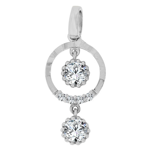 14k Gold White Rhodium, Dangling Circle of Life Pendant Charm Created CZ  (P060-055)