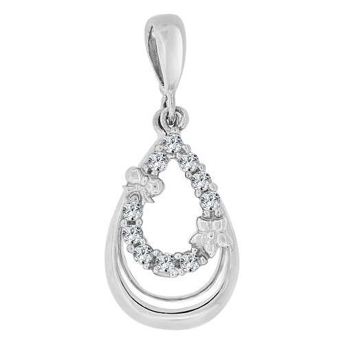 14k Gold White Rhodium, Small Pear Shape Pendant Charm Created CZ Crystals (P060-056)