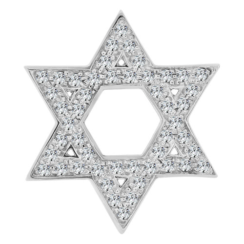14k Gold White Rhodium, Star of David 6 Pointed Jewish Star Pendant Charm Created CZ (P060-060)