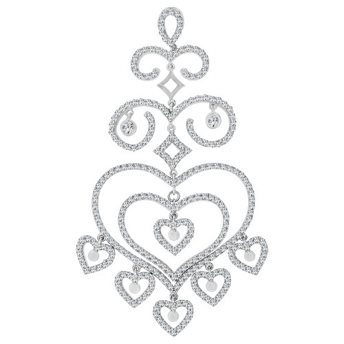 14k Gold White Rhodium, Dangling Multi Heart Pendant Charm Created CZ Crystals (P060-061)
