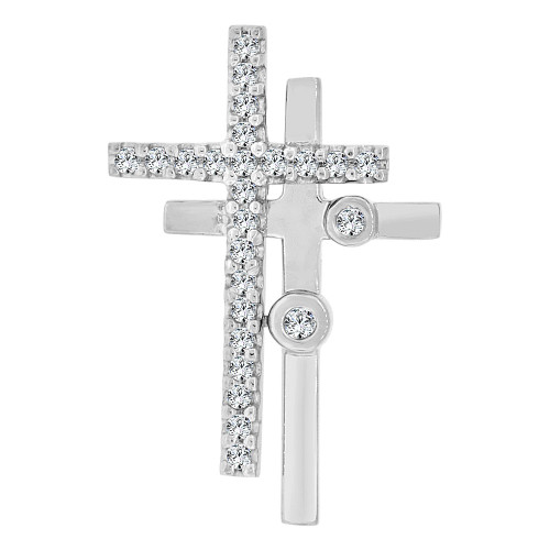 14k Gold White Rhodium, Double Crosses Pendant Charm Created CZ Crystals (P060-065)