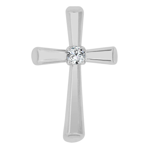 14k Gold White Rhodium, Small Religious Cross Charm Created CZ Crystal (P060-067)