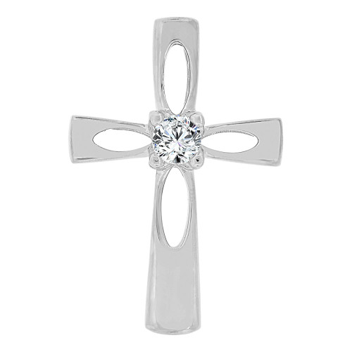 14k Gold White Rhodium, Small Religious Cross Charm Created CZ Crystal (P060-068)