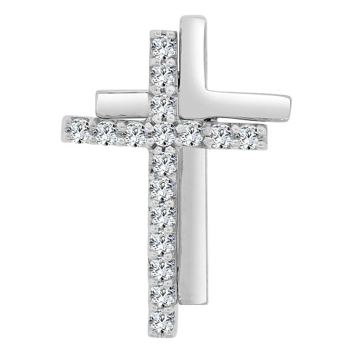 14k Gold White Rhodium, Small Religious Double Cross Charm Created CZ Crystals (P060-069)