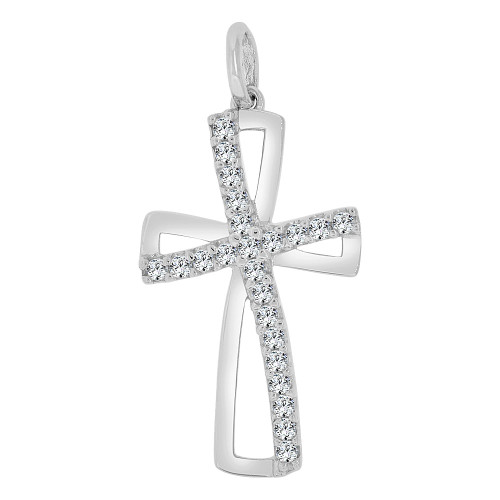 14k Gold White Rhodium, Fancy Religious Cross Pendant Charm Created CZ Crystals (P060-070)