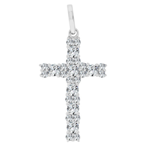 14k Gold White Rhodium, Classic Religious Cross Pendant Charm Created CZ Crystals (P060-072)