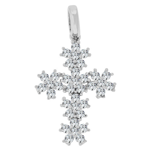 14k Gold White Rhodium, Fancy Burst Design Religious Cross Pendant Charm Created CZ Crystals (P060-073)