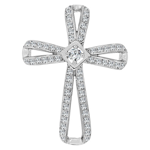 14k Gold White Rhodium, Fancy Religious Cross Pendant Charm Created CZ Crystals (P060-074)